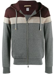 Eleventy Colour Blocked Zip Up Hoodie Red