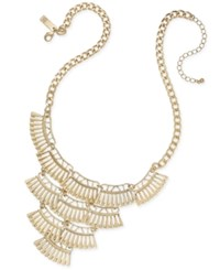 Inc International Concepts Gold Tone Metal Fringe Bib Necklace Only At Macy's