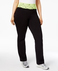 Material Girl Active Plus Size Lace Trim Yoga Pants Only At Macy's Classic Black