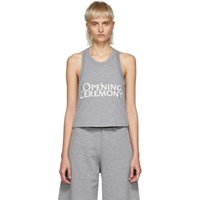 Opening Ceremony Grey Cropped Logo Tank Top