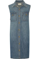 Current Elliott The Sleeveless Perfect Denim Shirt Dress Blue