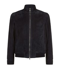 Corneliani Perforated Side Suede Bomber Jacket Male Navy