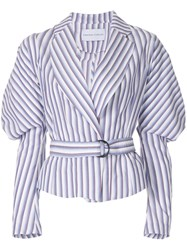 Strateas Carlucci Cumulus Puff Sleeve Striped Belted Jacket Pink And Purple