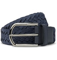 Tod's 3.5Cm Leather Trimmed Woven Suede Belt Navy