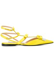 Sergio Rossi Bow Detail Slippers Yellow And Orange