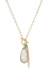 Spring Street Druzy Tassel And Charm Cluster Toggle Necklace White