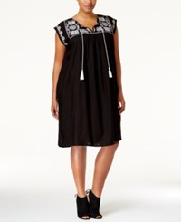 Love Squared Plus Size Embroidered Peasant Dress Black White