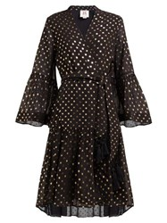 Figue Caroline Foil Print Crepe Wrap Dress Black Gold