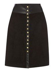Biba Button Front Faux Suede And Leather Skirt Black