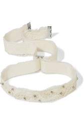 Etro Embellished Lace And Grosgrain Choker Ivory