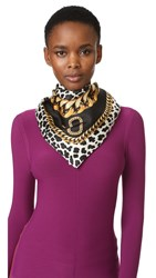 Marc Jacobs Leopard And Chains Scarf Black Multi