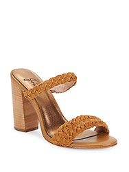 Joie Leather Slide Open Toe Sandals Whiskey