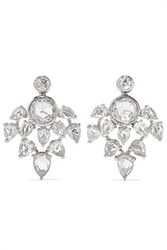 Fred Leighton Collection 18 Karat White Gold Diamond Earrings