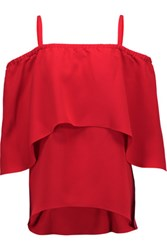 Tanya Taylor Ione Crepe Top Red