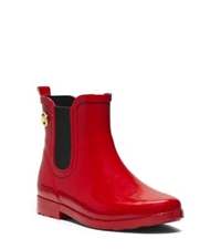Michael Kors Short Rubber Rain Boot Red Black