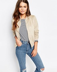 New Look Suedette Bomber Jacket Stone