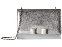 Salvatore Ferragamo Mini Vara Flap Bag Argento Cross Body Handbags Silver