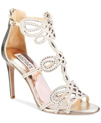 Badgley Mischka Teri Strappy Embellished Evening Sandals Women's Shoes Platino