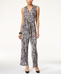 Ny Collection Petite Printed Wide Leg Jumpsuit Ebony Crown