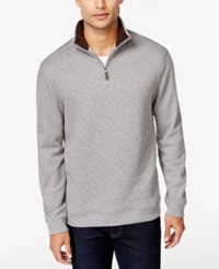 Tasso Elba Quilted Quarter Zip Sweater Only At Macy's Cinder Heather