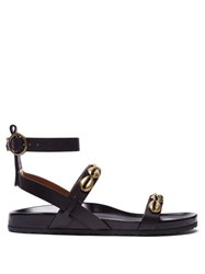 Etro Shell Studded Leather Sandals Black