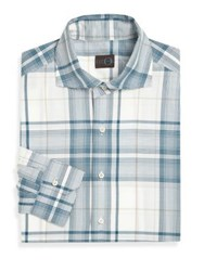 Eidos Tartan Plaid Dress Shirt Blue