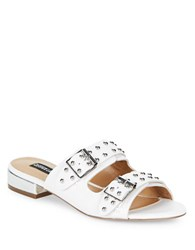 Design Lab Lord And Taylor Punk Studded Slip On Sandals White