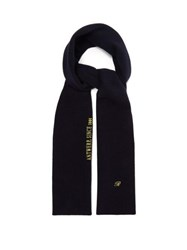 Raf Simons Logo Embroidered Wool Blend Scarf Dark Navy