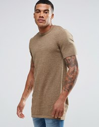 Asos Longline Knitted T Shirt In Tan Twist Camel And Khaki Twist Brown