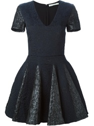 Amen Flared Brocade Dress Black