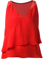 Parker Sleeveless Ruffle Top Red