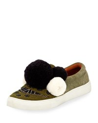 Figue Karita Suede Pompom Slip On Sneaker Green