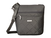 Baggallini Quilted Pocket Crossbody With Rfid Wristlet Pewter Quilt Cross Body Handbags Gray