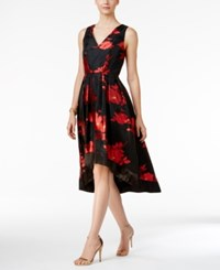 Si Fashions Sl Floral Print High Low Cocktail Dress Black Red