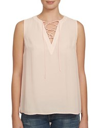 1.State Sleeveless Lace Up Front Blouse Pink Balm