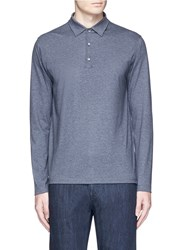 Isaia Cashmere Cotton Polo Shirt Grey