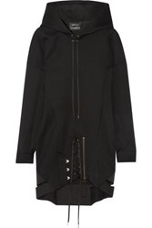 Anthony Vaccarello Hooded Lace Up Wool Dress Black