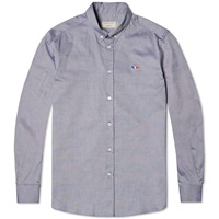 Maison Kitsune Button Down Classic Tricolour Fox Oxford Shirt Navy
