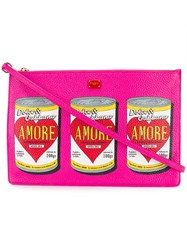 Dolce And Gabbana Amore Can Printed Clutch Bag Pink And Purple