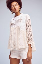 Anthropologie Eyelet Windbreaker Ivory