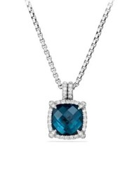 David Yurman Chatelaine Pave Bezel Pendant Necklace With Hampton Blue Topaz And Diamonds