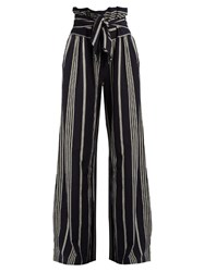 Ace And Jig Paper High Waisted Wide Leg Cotton Trousers Navy White