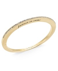 Kate Spade New York Gold Tone Cubic Zirconia Engraved Hinged Bangle Bracelet