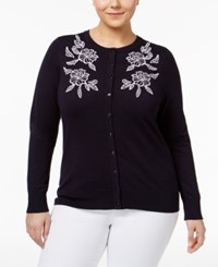 Charter Club Plus Size Floral Cardigan Only At Macy's Deepest Navy