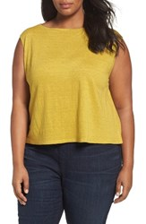Eileen Fisher Plus Size Women's Organic Linen Jersey Shell Green