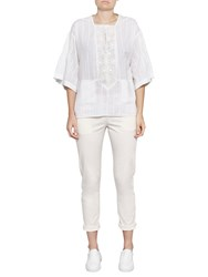 French Connection Oni Cotton Embroidered Blouse Summer White