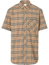 Burberry Short Sleeve Small Scale Check Stretch Cotton Shirt Neutrals