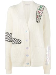 Christopher Kane Oversized Patch Applique Cardigan Nude Neutrals