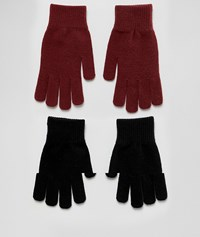 Monki Knit 2 Pack Gloves In Black And Burgundy Black And Wine Multi