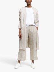 Eileen Fisher Long Shimmer Organic Linen Blend Cardigan Bone